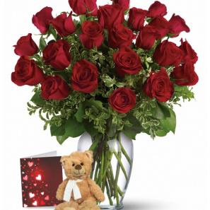 24 Roses Rouges & Ours en Peluche buy at Fleur Quebec