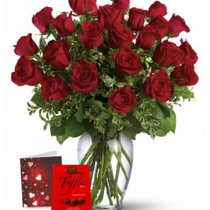 24 Roses Rouges & Truffes buy at Fleur Quebec