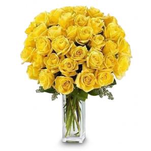 3 Douzaines de longues tiges de roses jaunes buy at Fleur Quebec