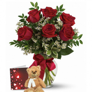 Combo 6 Roses Rouges & Ours en Peluche buy at Fleur Quebec