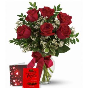 Combo 6 Roses Rouges & Truffes buy at Fleur Quebec